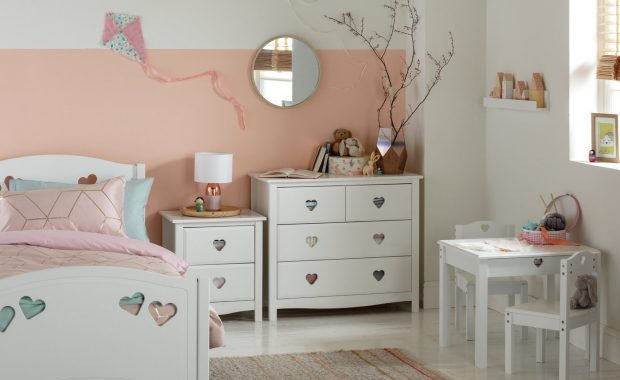 White bedroom furniture with heart-shaped cut-outs