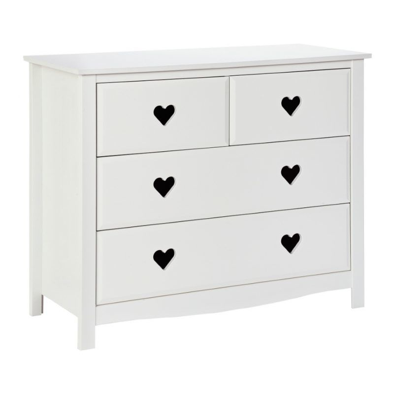 White 2 plus 2 drawer chest with heart cut-outs