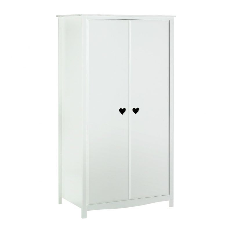 White wardrobe with heart shape cut-outs