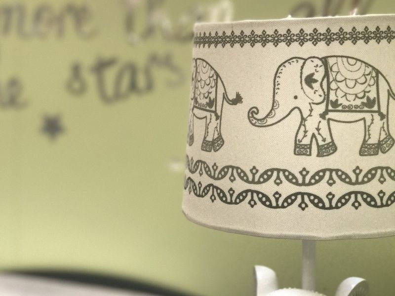 Lampshade with elephant prints