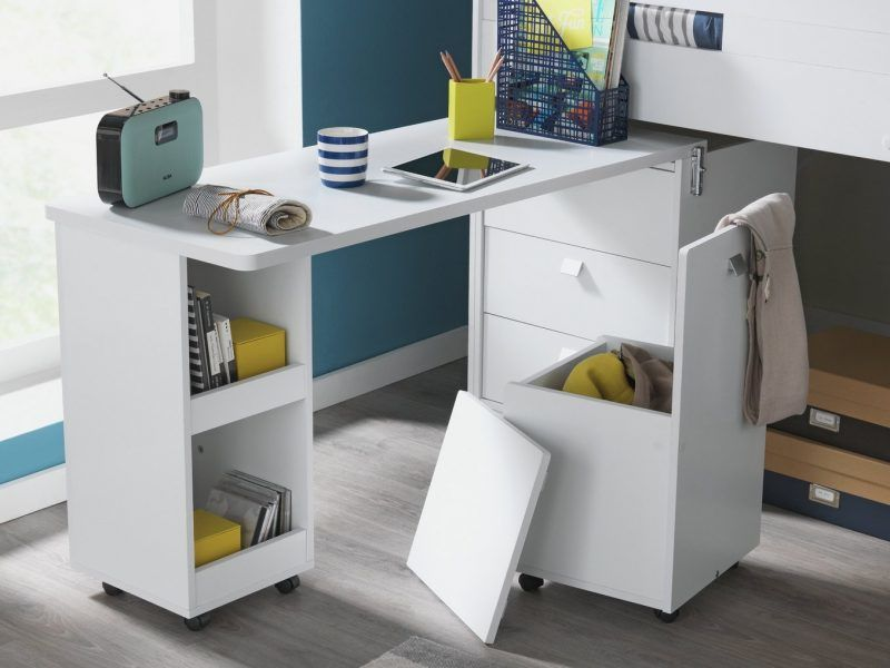 White storage mid sleeper desk detail