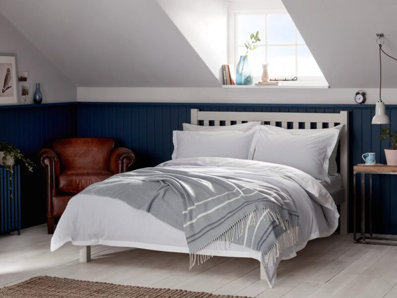 Grey painted small double bed frame