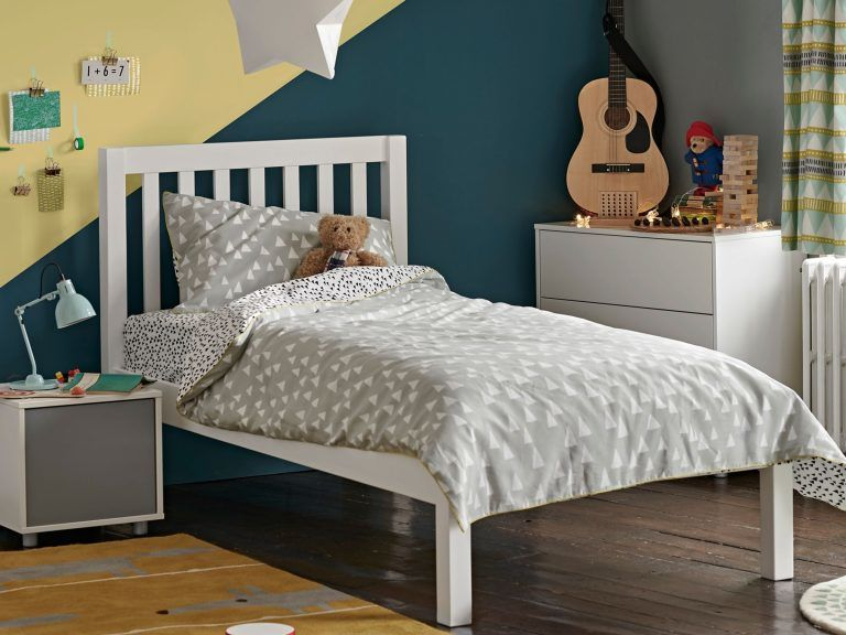 White-painted kid's bed
