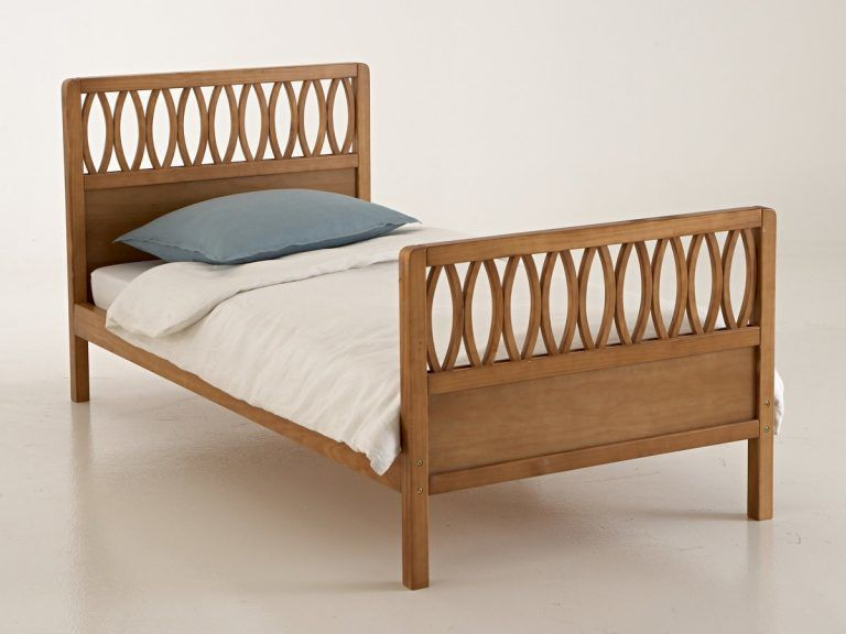Pine bed with lattice headboard and footboard