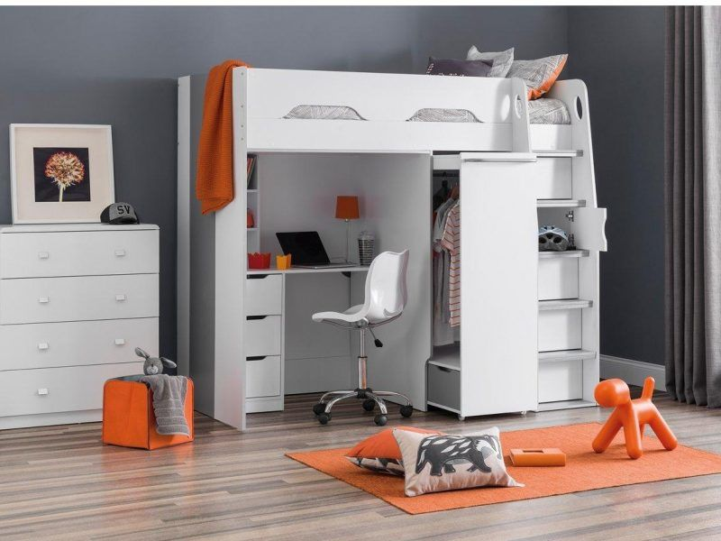 Kid's high-sleeper with desk and wardrobe (white)