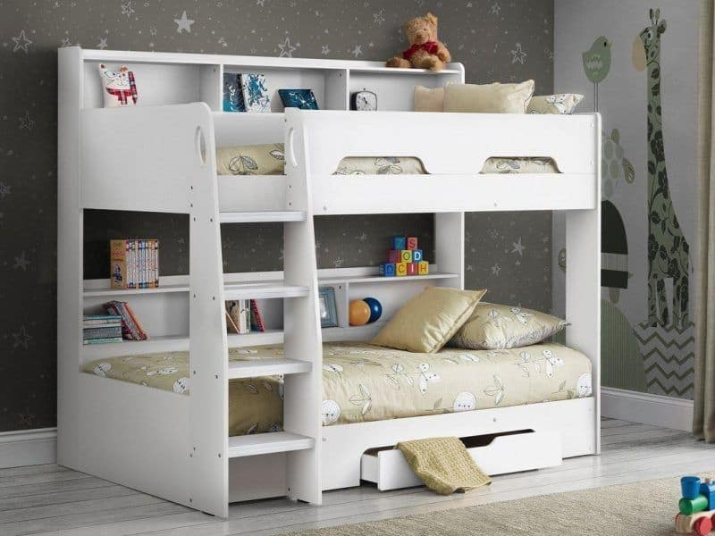 White bunk bed with drawer and shelves