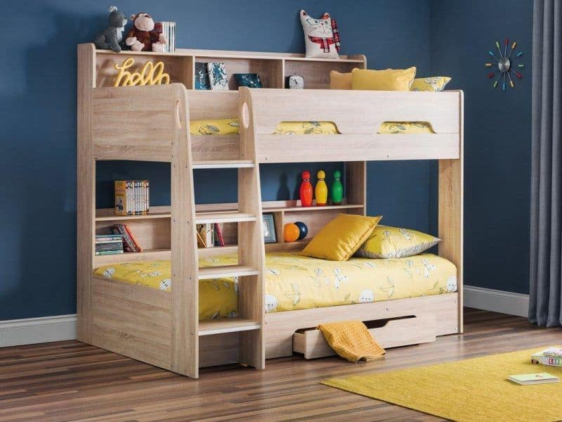 Oak bunk bed with shelves and drawer