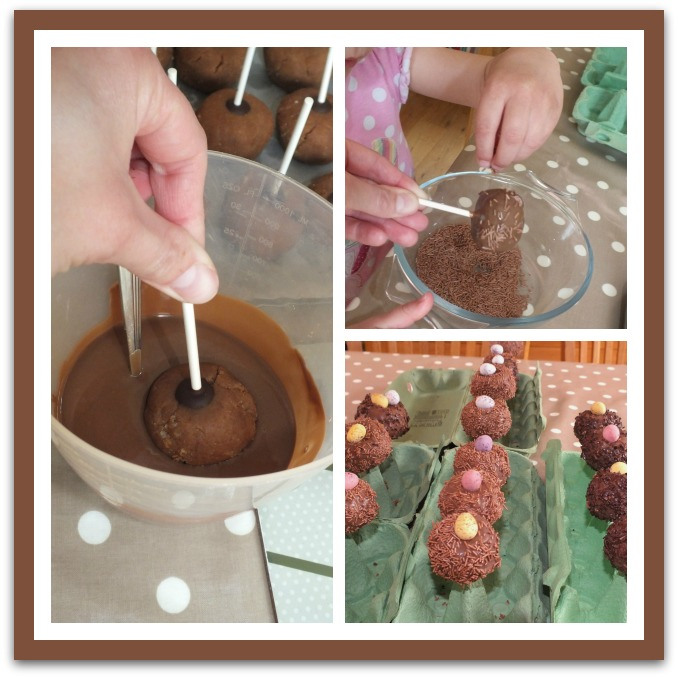 Dipping the lollipops in chocolate