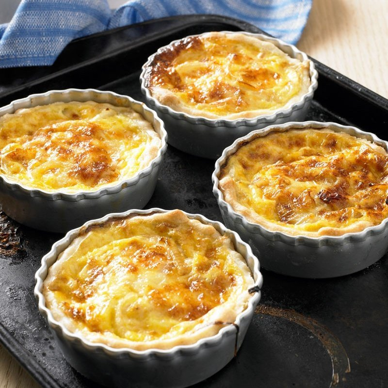 Cheese and onion quiches