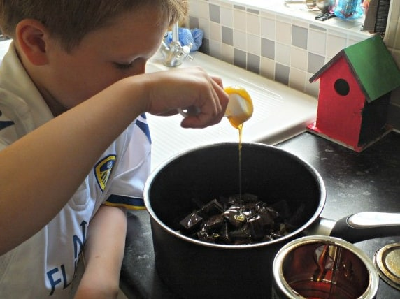 Adding the syrup and butter