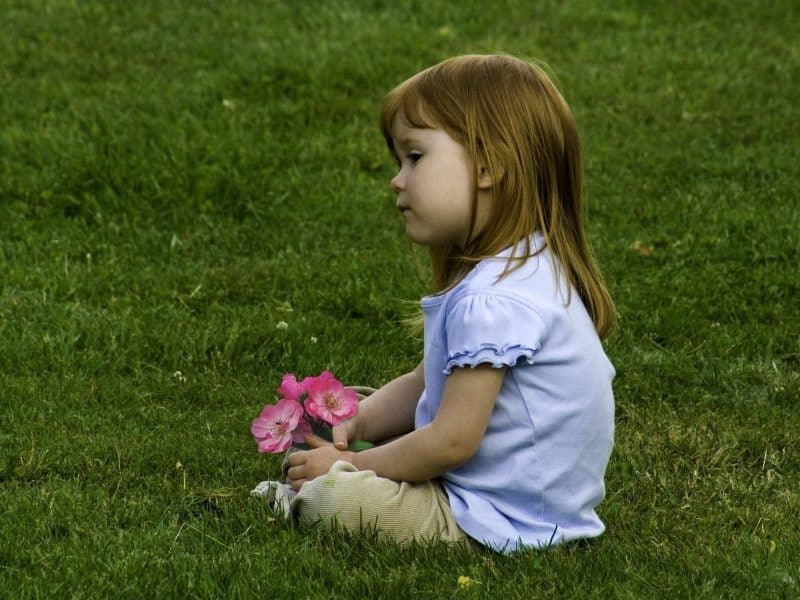 Young girl sitting on the lawn
