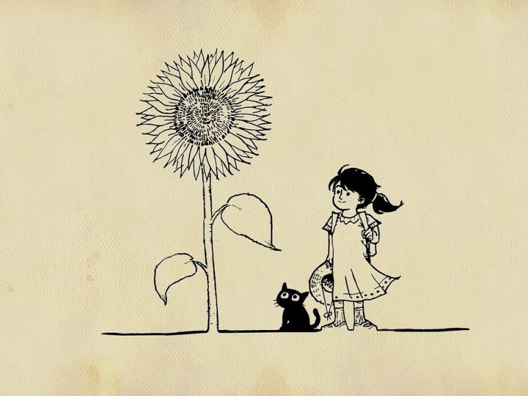 Vintage image of a girl and a cat and a sunflower
