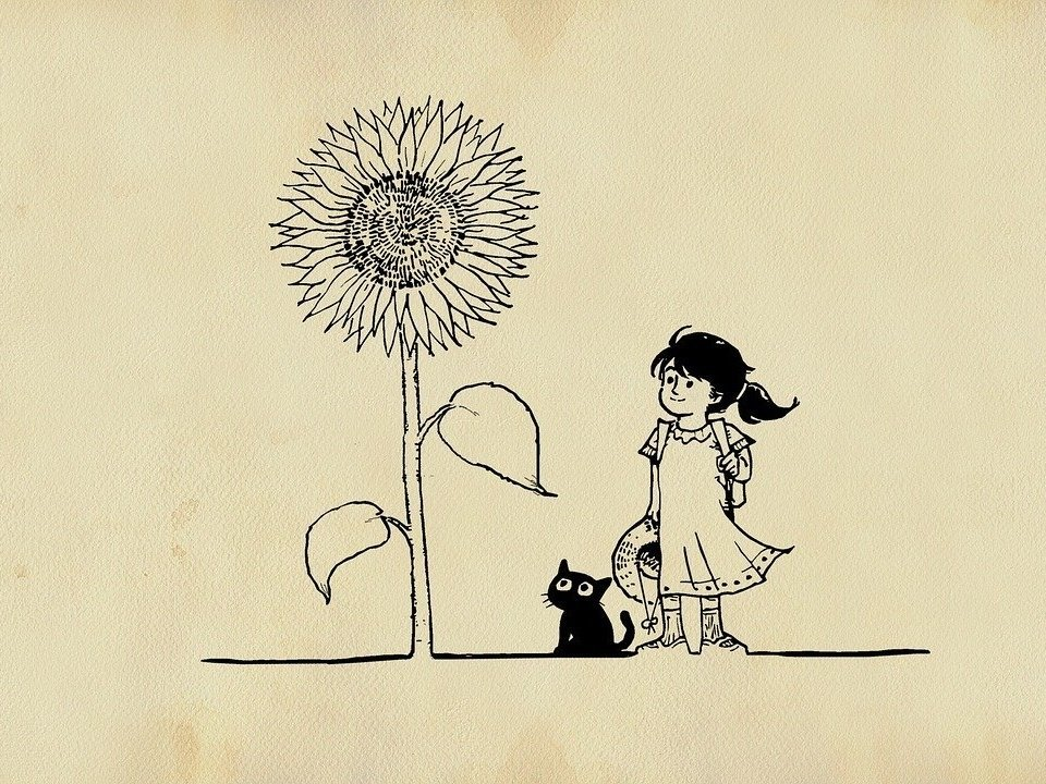 Drawing of a girl and a cat and a huge flower