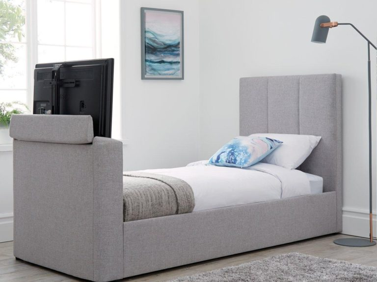 Grey fabric upholstered TV bed frame