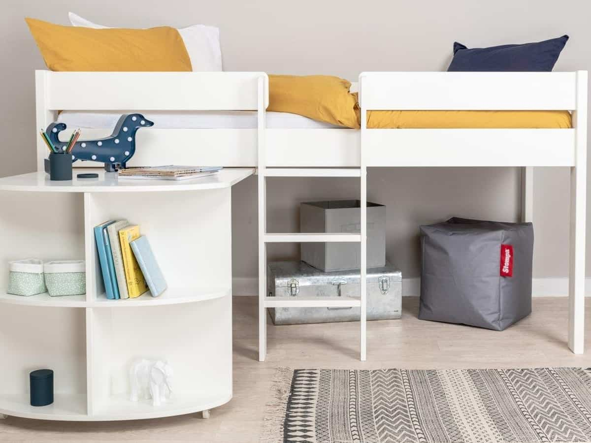 Kid's mid sleeper bed with desk and shelves