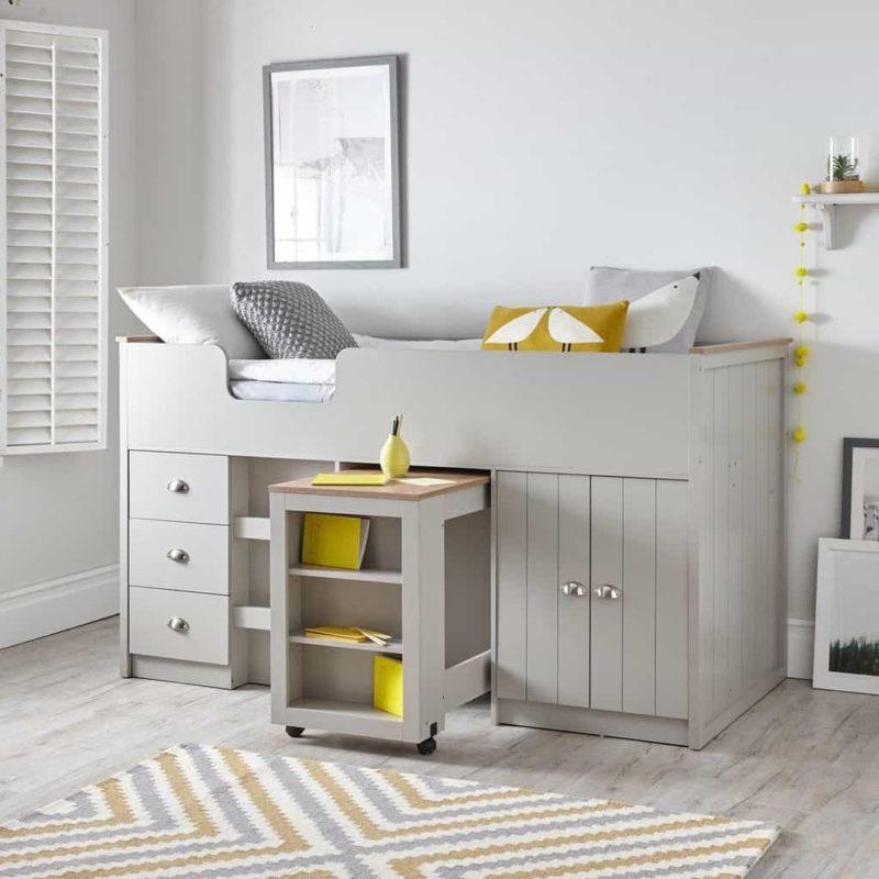 Grey=painted mid-sleeper storage bed