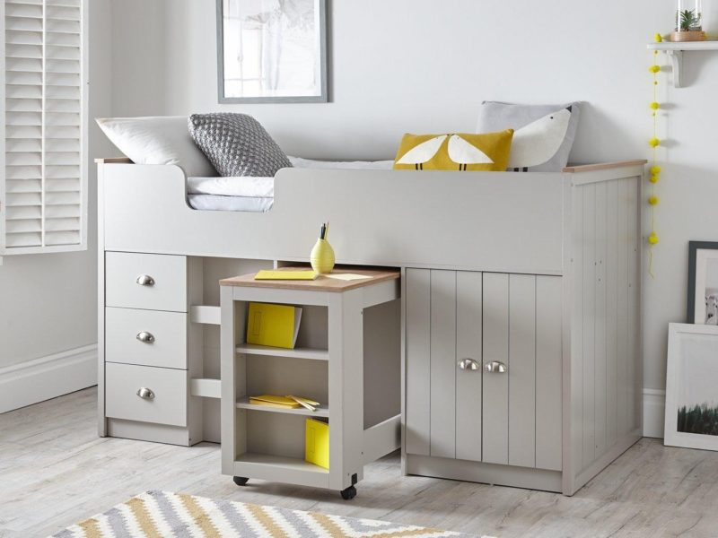 Grey-painted mid-sleeper with storage