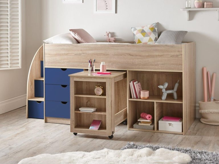 Mid-sleeper bed with stairs and storage
