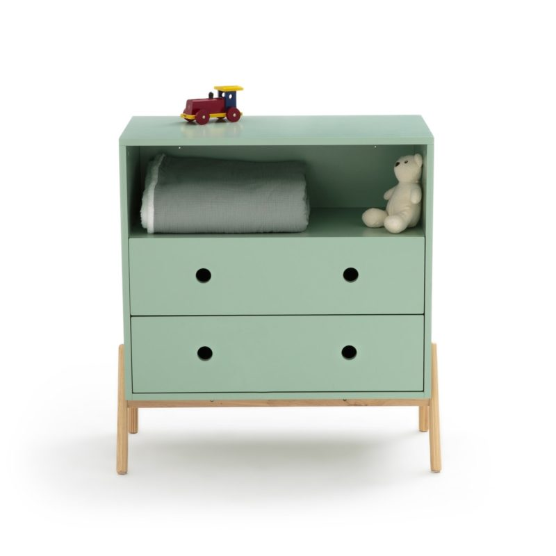 Children's green-painted drawer chest with storage shelf