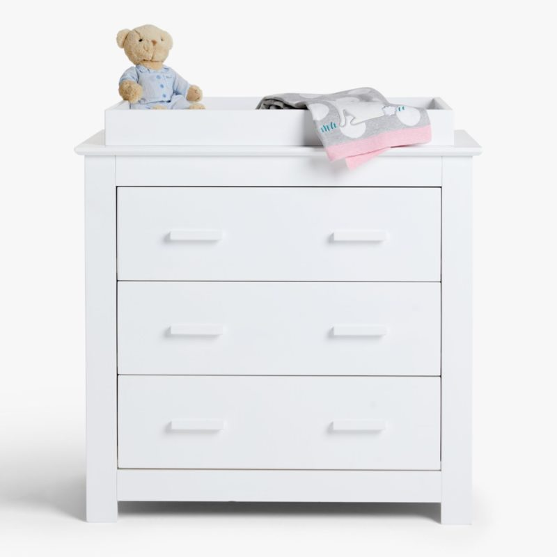 White-painted drawer chest with baby dresser