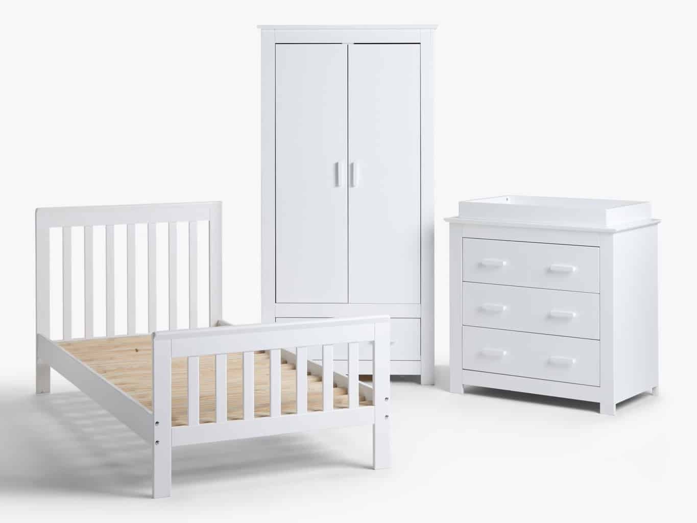 White painted bed frame, dresser and wardrobe