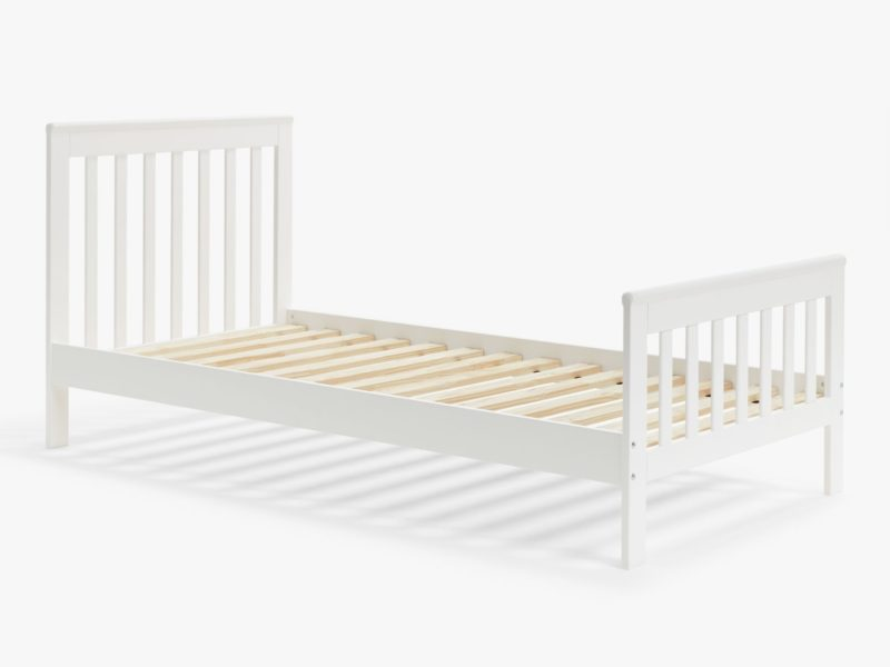 White-painted single bed frame