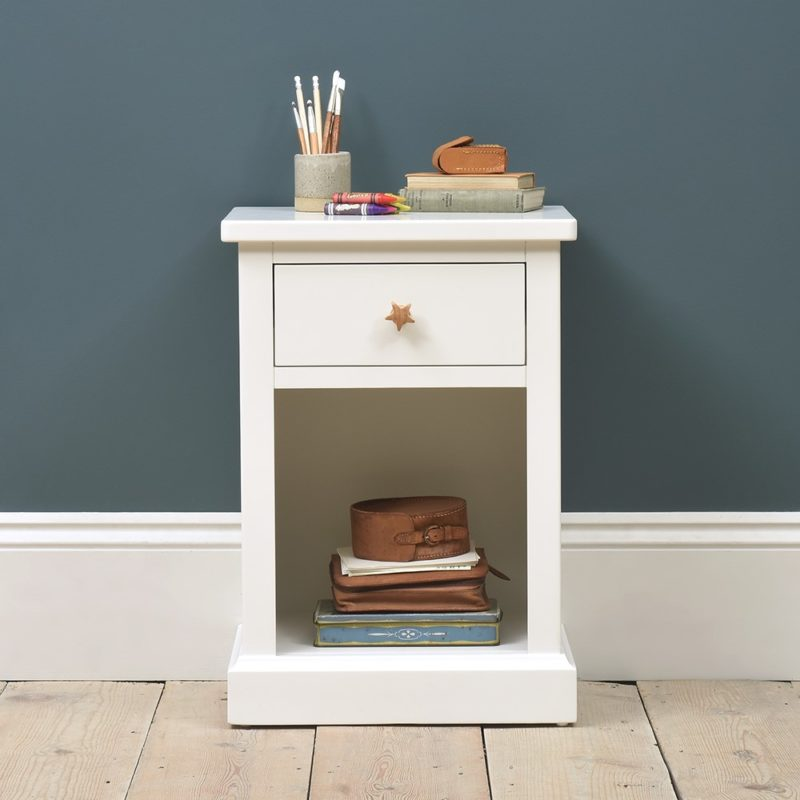 White-painted bedside unit