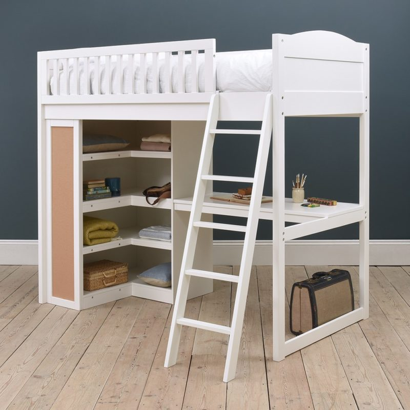 High sleeper with desk and storage shelves