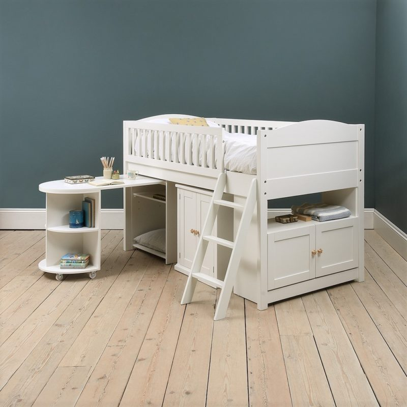 White-painted mid sleeper with storage and desk