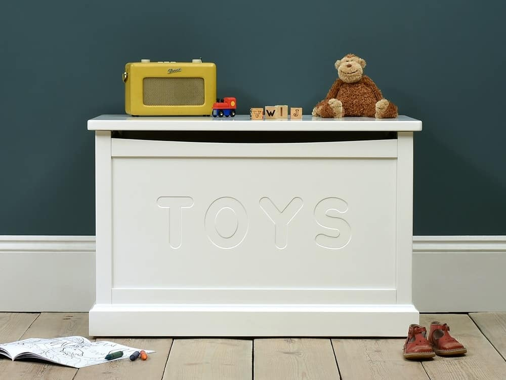 White-painted toy box