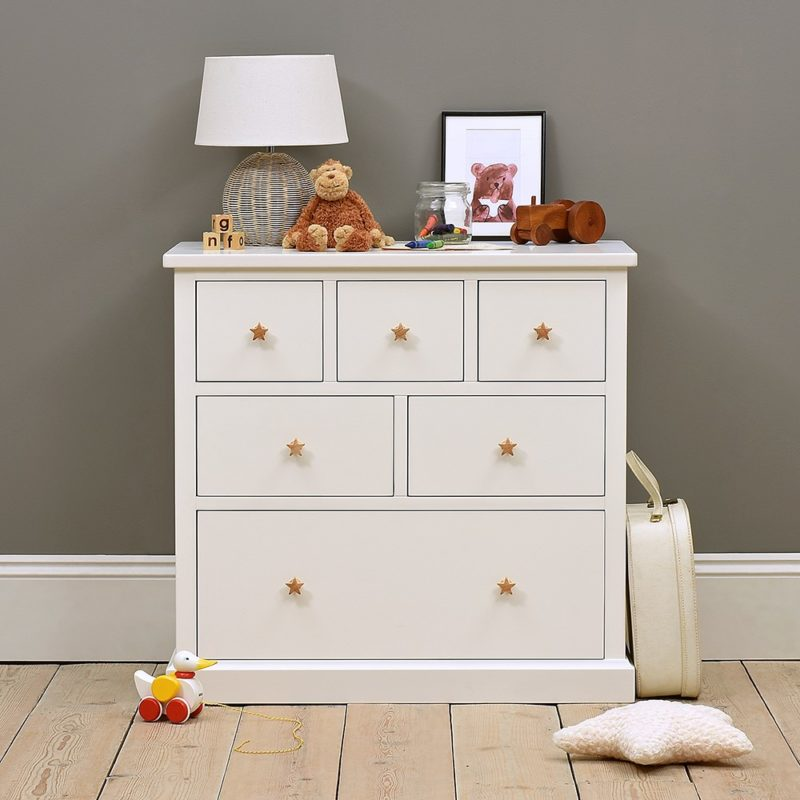 White-painted 6-drawer chest