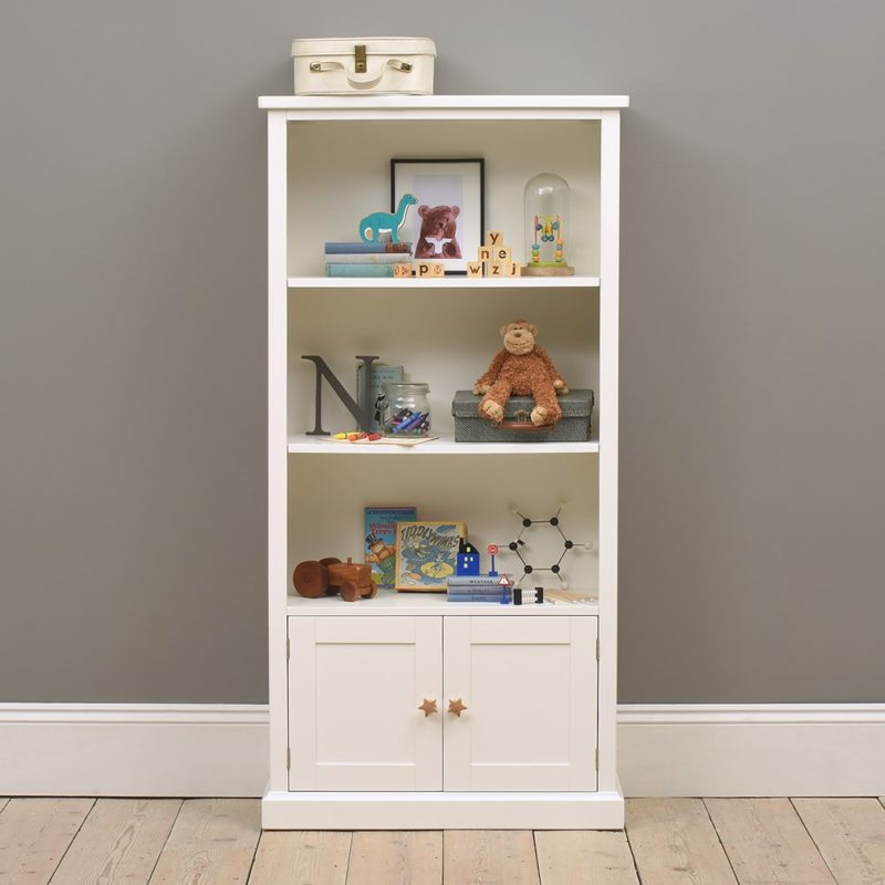 Tall white storage bookcase