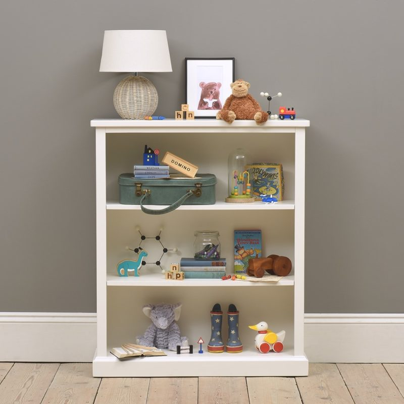 White-painted 3-tier bookcase