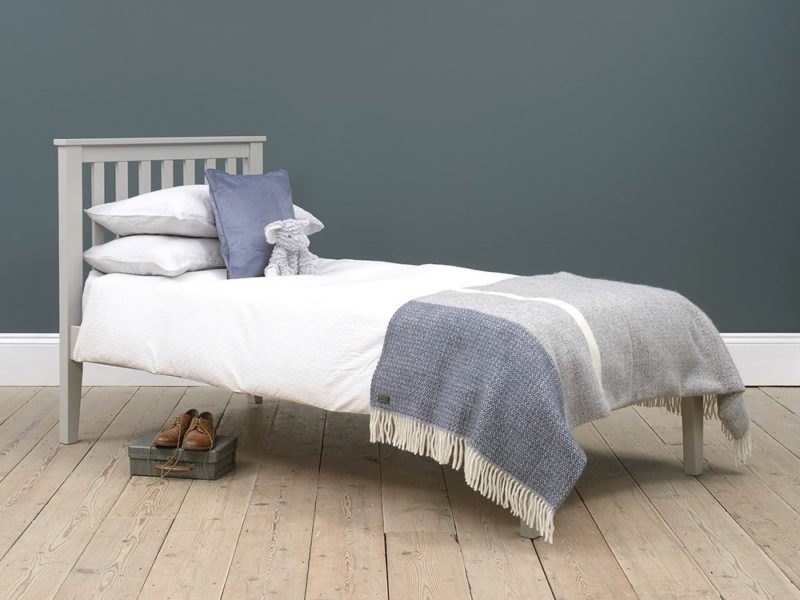Grey-painted bed