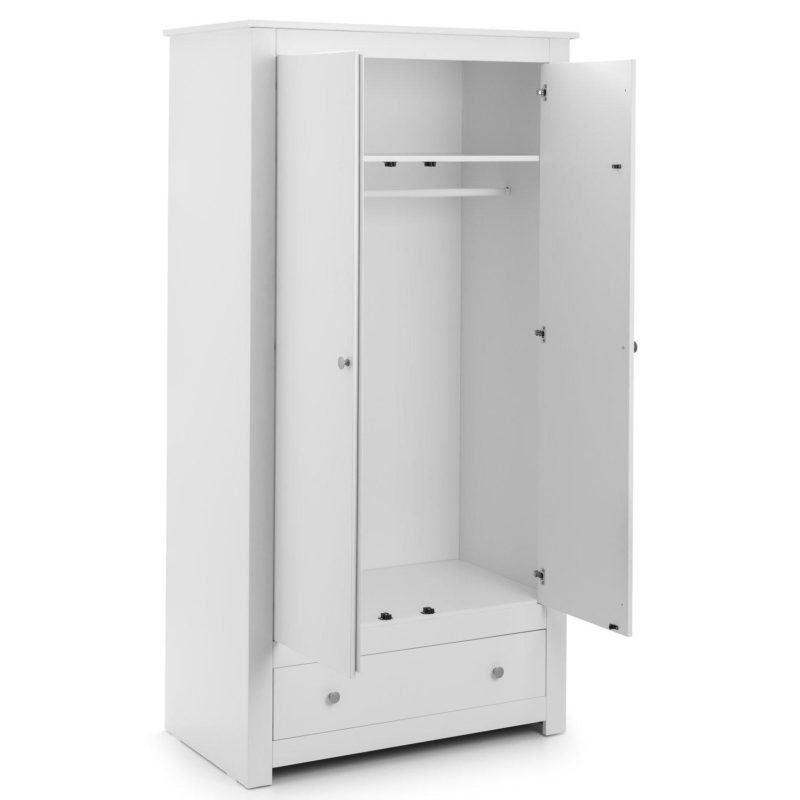 White 2-door wardrobe with drawer