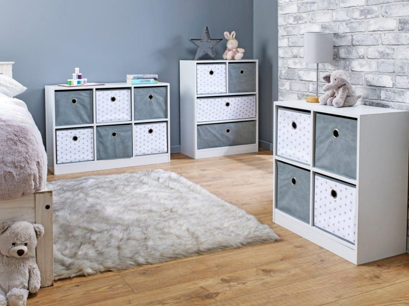 Grey/white cube storage with star prints