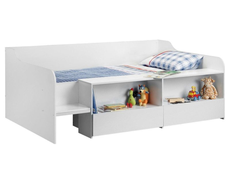 White low-sleeper bed with storage