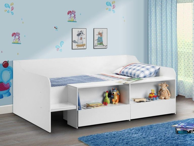 White cabin bed with storage