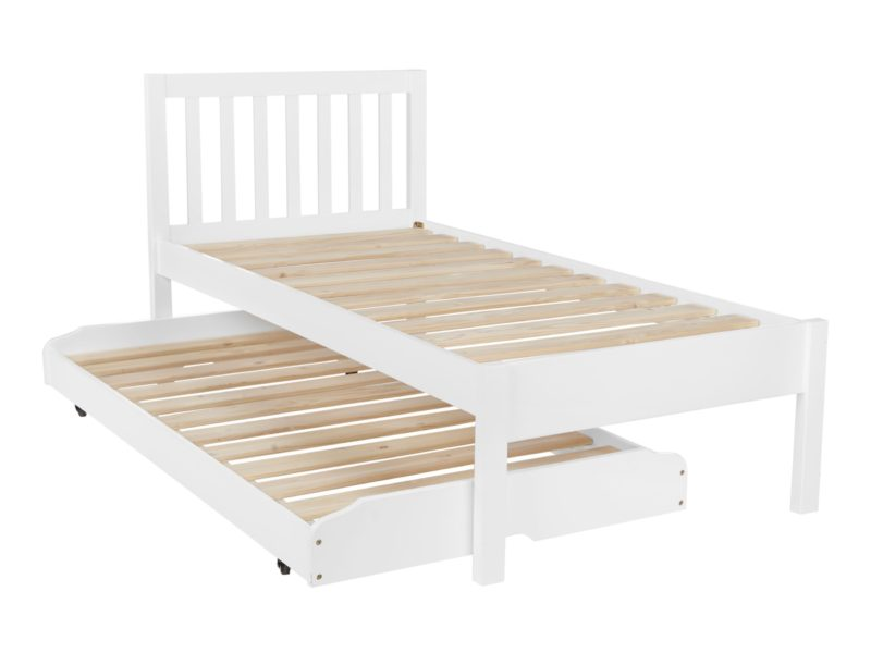 White-painted trundle guest bed