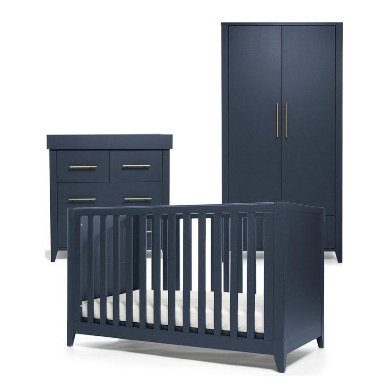 Cot bed, dresser and standard wardrobe