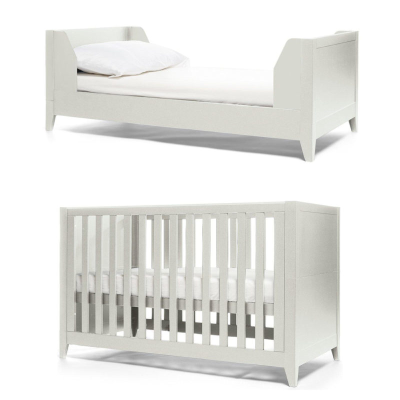 Grey-pained cot bed and toddler bed