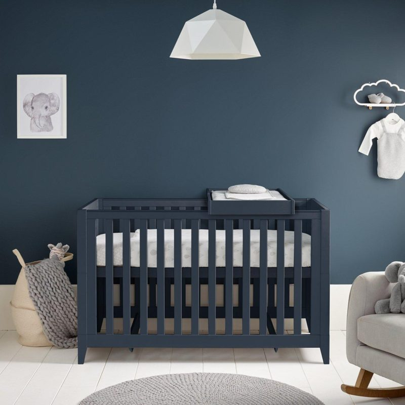 Height-adjustable cot bed - painted dark blue