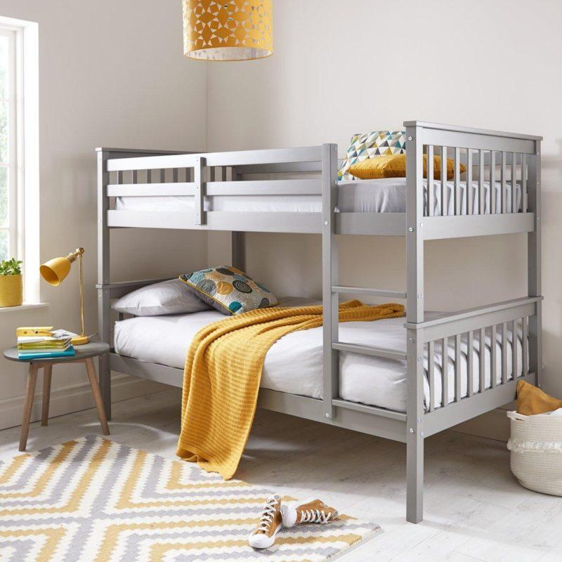 Dark grey-painted bunk bed