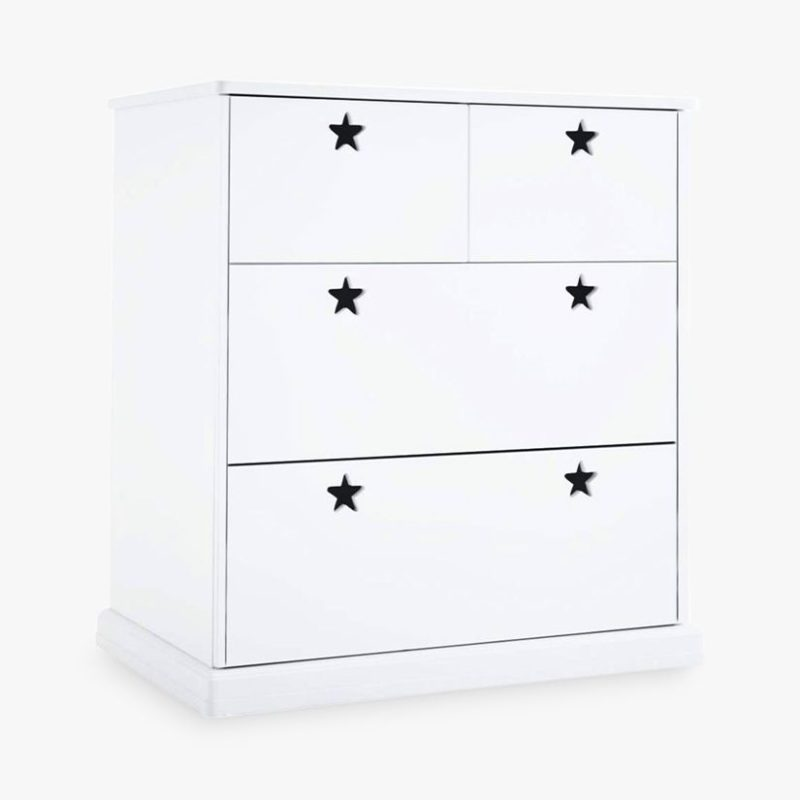 White 4-drawer chest with star-shaped cut-outs