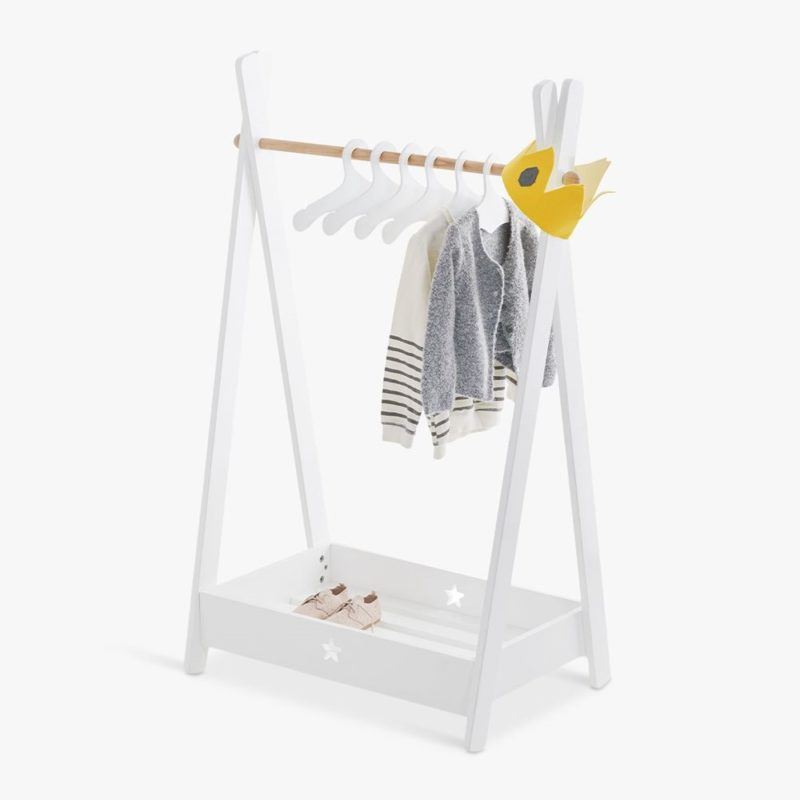 White-pained children's clothes rail