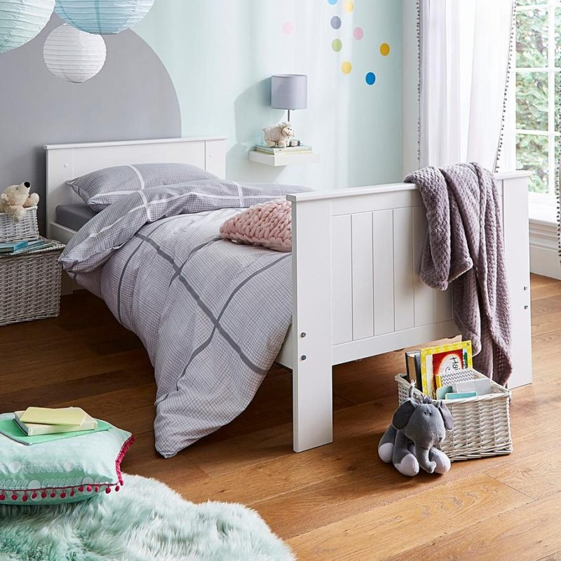 Kid's white-painted single bed frame