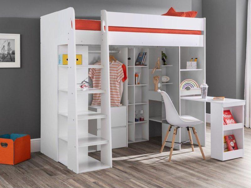 Children's high sleeper bed with storage