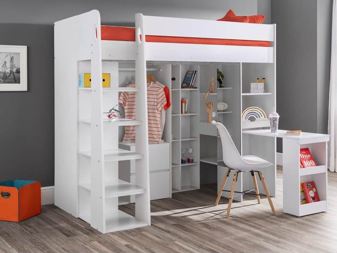 Children's high sleeper bed with storage