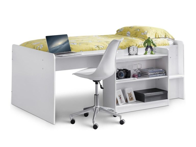 White mid sleeper with desk and shelving