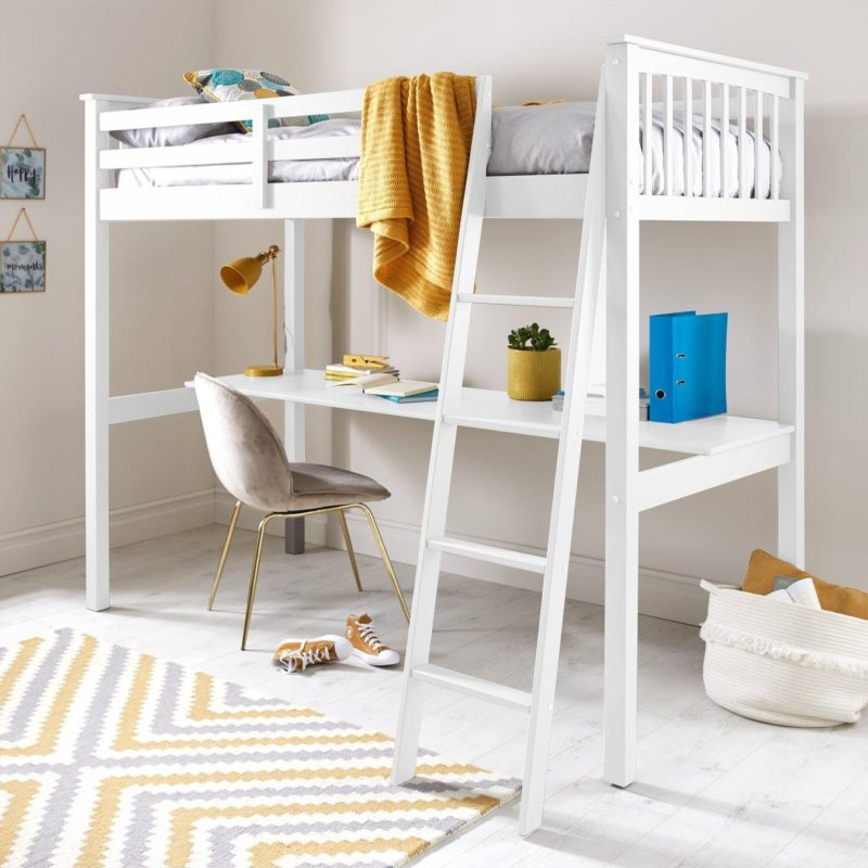 White-painted high-sleeper with desk